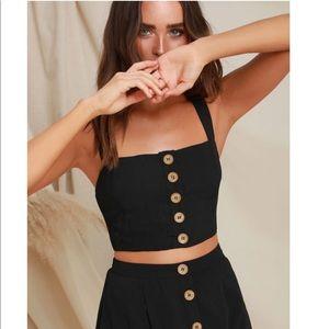 NWT Lulus Two Piece Midi Dress in Black Sz Large